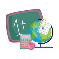 terug naar school, wiskunde voorbeeld schoolbord wereldbol kaart rekenmachine appel
