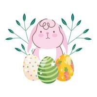gelukkig Pasen schattig konijn eieren takken gebladerte natuur viering