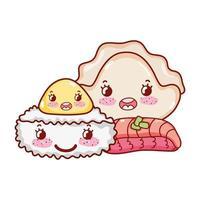 kawaii rijstrol vlees knoedel en koekjes eten japanse cartoon, sushi en broodjes