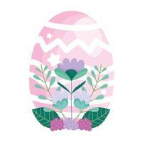 gelukkige roze eierdecoratie van Pasen en bloemengebladerte