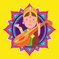 Saraswathi Vector Illustratie