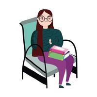 jonge vrouw zitten met boeken in benen, boekdag