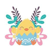gelukkige paasdag, kip in de decoratie van eierschaalbloemen