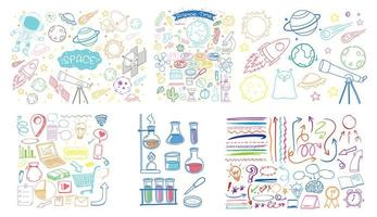 set van kleurrijke object en symbool hand getrokken doodle op witte achtergrond vector