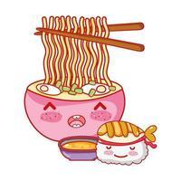 kawaii sushi ramen soep en eten japanse cartoon, sushi en broodjes