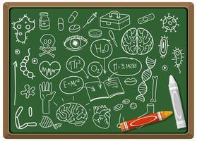 hand getekend medische wetenschap element op schoolbord