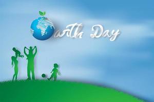 aardedag met familie geniet van leuk ontwerp voor wenskaarten. ecologie milieu banner