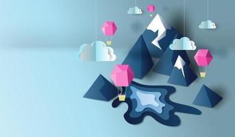 papier gesneden kunst met 3d uitzicht op de bergen en ballonnen banner achtergrond