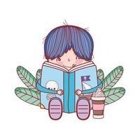 schattige kleine jongen zit met open boek en frappe
