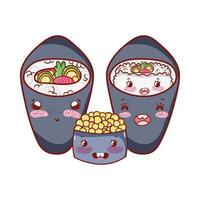 kawaii temaki sushi rijst salade kaviaar eten japanse cartoon, sushi en broodjes
