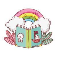 boek van piraten regenboog wolken planten cartoon vector