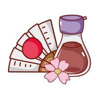 kawaii sake-fan en sakura-bloemenvoedsel Japanse cartoon, sushi en broodjes