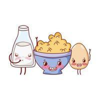 ontbijt schattig gekookt ei, granen en melk kawaii cartoon vector