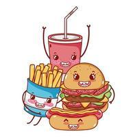fastfood schattige hamburger hotdog frietjes en frisdrank beker cartoon
