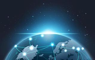planeet aarde met blockchain-technologie concept achtergrond vector