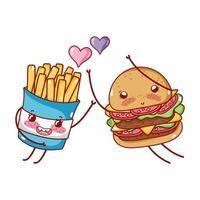 fastfood schattige hamburger en frietjes houden van harten cartoon vector