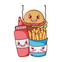 fastfood schattige frietjes hamburger en tomatensaus cartoon