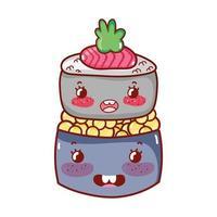 kawaii sushi roll kaviaar eten japanse cartoon, sushi en broodjes