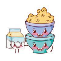 ontbijt schattige kom met ontbijtgranen en melkbox cartoon vector
