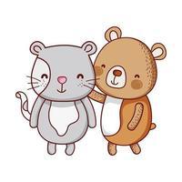 schattige dieren, beer en kat cartoon geïsoleerde pictogram vector