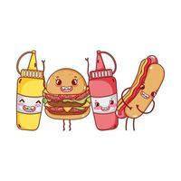 fastfood schattige hamburger hotdog mosterd sauzen stripfiguur
