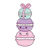 schattig voedsel stapel makaron zoet dessert gebak cartoon geïsoleerd ontwerp vector
