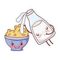 ontbijt schattige melk gieten in granen kom kawaii cartoon vector
