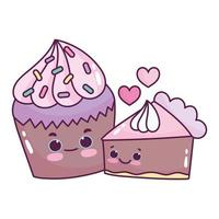 schattig eten chocolade cupcake en cake liefde zoet dessert gebak cartoon geïsoleerde ontwerp vector