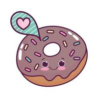 schattig eten donut tekstballon hou van zoet dessert kawaii cartoon geïsoleerd ontwerp vector