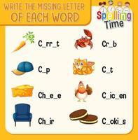vul de ontbrekende letter van elk woord-werkblad voor kinderen in vector