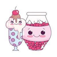 schattig eten ijs glas en pot met kersen zoete dessert gebak cartoon geïsoleerde ontwerp vector