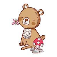 schattige dieren, kleine beer vlinder en paddestoel cartoon