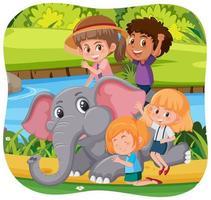 gelukkige kinderen met dieren in de natuur achtergrond vector