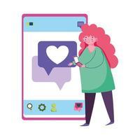 mensen en smartphone, jonge vrouw met behulp van smartphone sms'en liefde vector
