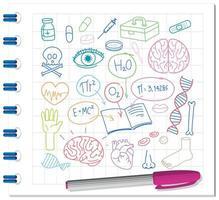 set van medische wetenschap element doodle op notebook