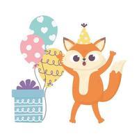 gelukkige dag, kleine vos met hoed geschenkdoos en ballonnen vector
