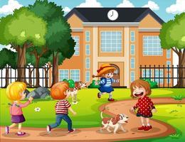 buitenscène met veel spelende kinderen voor school vector