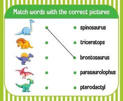 woord naar afbeelding matching werkblad dinosaurusthema