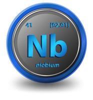 Niobium scheikundig element. chemisch symbool met atoomnummer en atoommassa.