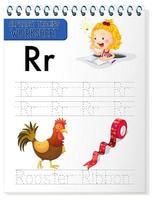 alfabet overtrekken werkblad met letter r en r