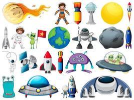 set ruimtevoorwerpen en elementen geïsoleerd op een witte achtergrond vector