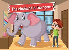 idioom poster met de olifant in de kamer vector