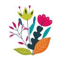 bloemen bladeren gebladerte natuur decoratie geïsoleerde pictogram vector