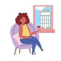 restaurant sociaal afstand nemen, vrouw met glas wijn raam kijken, veilige afstand bewaren, preventie covid 19 coronavirus vector