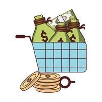 zakelijk financieel winkelwagentje met geldzakken, munten en bankbiljetten