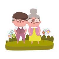 grootouders dag, grootvader en grootmoeder gras bloemen cartoon