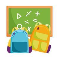 terug naar school, rugzakken en schoolbord elementair onderwijs cartoon vector