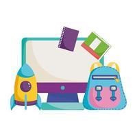 terug naar school, rugzak raketcomputer en boeken elementair onderwijs cartoon vector