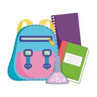 terug naar school, basisonderwijs cartoon rugzakboeken en scheikolf vector