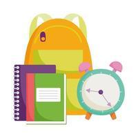 terug naar school, rugzakklok en boeken cartoon voor basisonderwijs vector